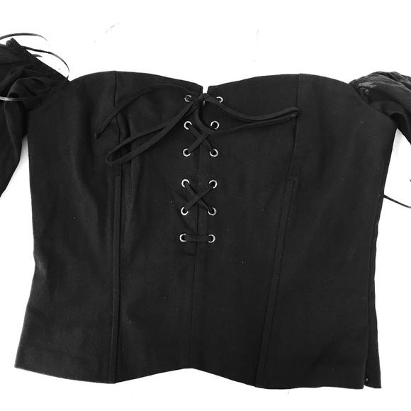 9421884e2b NWT Zara Lace Up Corset Off Shoulder Crop
